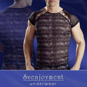 Svenjoyment Reptile Powernet V Lacing Cut Out Short Sleeved T Shirt Black/Grey 2160447