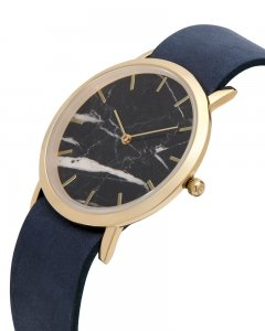 Analog Watch Classic Black Marble Dial & Navy Strap Watch GN...