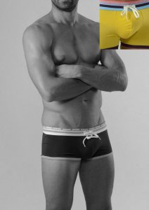 Geronimo Square Cut Trunk Swimwear Yellow/Dark Blue 1626B2-2