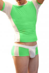 Icker Sea Duotone Matching T Shirt & Boxer Brief Set Green/White COR-16-05