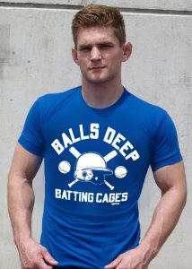 Ajaxx63 Athletic Fit Balls Deep Batting Cages Short Sleeved T Shirt Royal Blue AS81