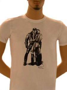 Tom Of Finland Whip Boy Short Sleeved T Shirt White