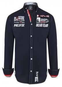 Giorgio Di Mare Worked Long Sleeved Shirt Navy GI4268016