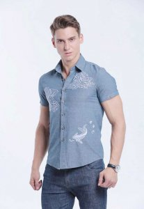 Spy Henry Lau Floral Embroidery Short Sleeved Shirt Blue SP5...