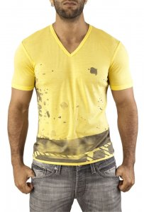 Vuthy Graphic V Neck Short Sleeved T Shirt Yellow 249
