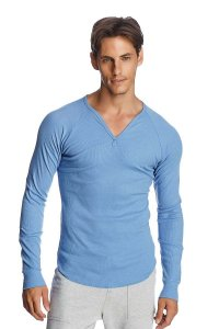 4-rth Thermal V Neck Long Sleeved T Shirt Ice Blue