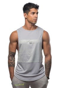 Jed North Axe 3 Panel Muscle Top T Shirt Silver Tank006
