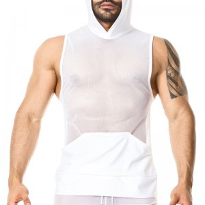 Gigo LIGHT WHITE Hoody Muscle Top T Shirt O27179