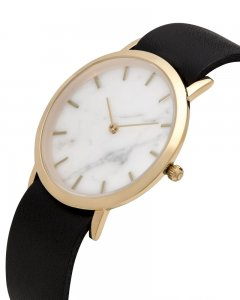 Analog Watch Classic White Marble Dial & Black Strap Watch G...