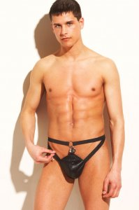 Allure Men's Underwear Leather Chastity Thong 24-606XO