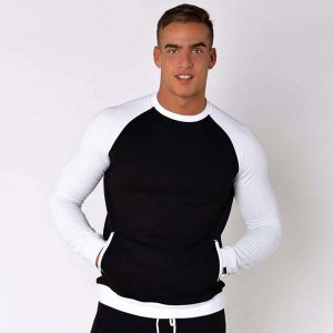 Roberto Lucca Sporty Sweat Long Sleeved T Shirt Black/White ...