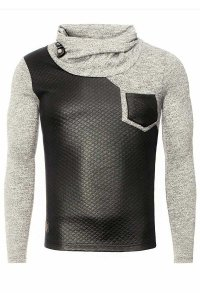 Carisma Checker Combination High Neck 7916-1 Sweater Grey