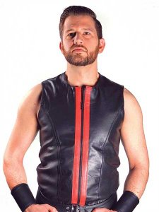 Mister B Leather Zip Vest Muscle Top T Shirt 130930