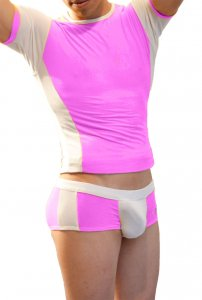 Icker Sea Matching T Shirt & Boxer Brief Set Pink & White COR-16-06