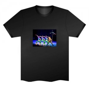 LED Electro Luminescence Acrobatics Funny Gadgets Rave Party Disco Light T Shirt Black 31758