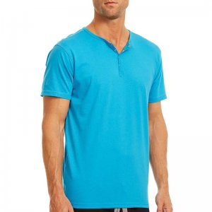 Papi Knit Jersey Henley Short Sleeved T Shirt Turquoise 627105