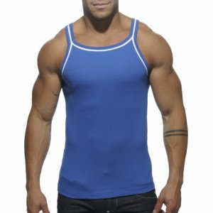 ES Collection Double Piping Tank Top T Shirt Royal Blue TS122