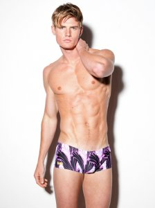 N2N Bodywear South Beach Square Cut Trunk Swimwear Lavender A3