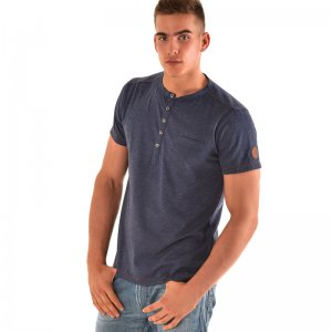 Roberto Lucca 5 Buttons Short Sleeved T Shirt Jeans Blue RL150S0221-00805