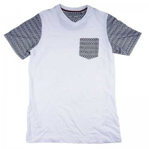 Beans & Bones Jacquard V Neck Short Sleeved T Shirt White 80...