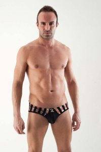 Geronimo Multicolour Stripe Brief Underwear Black 1354S4