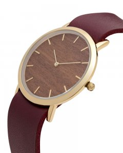 Analog Watch Classic Makore Wood Dial & Cherry Strap Watch G...