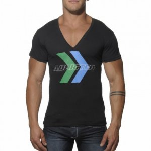 Addicted Printed V Neck Short Sleeved T Shirt Black AD198