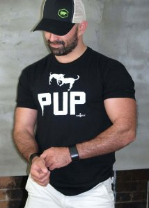 Ajaxx63 Pup Play Athletic Fit Short Sleeved T Shirt Black AS84