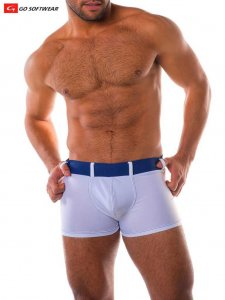 Go Softwear Bahia Square Cut Trunk Swimwear White/Navy 4529