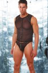 Allure Men's Leather & Mesh Muscle Top T Shirt 26-209