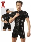 Late X Zip Latex Bodysuit Black 2910098