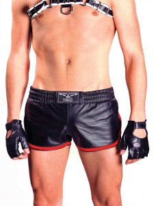 Mister B Leather Stripe Sport Shorts Red 150630
