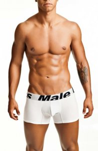 MaleBasics Microfiber Trunk Boxer Brief Underwear White MBM01