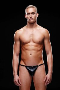 Envy Shimmer Low Rise G String Underwear Black E029