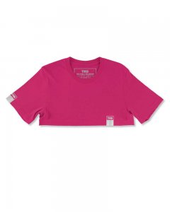 The Well Branded 100% Soft Airlume Cotton Signature Color Max Crop Top Short Sleeved T Shirt Fuchsia