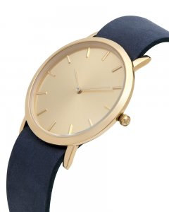 Analog Watch Classic Gold Plated Dial & Navy Strap Watch GN-...