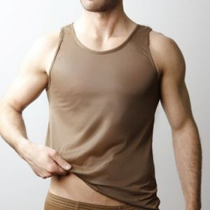 Players Nylon Tricot Tank Top T Shirt Brown