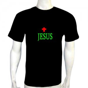 LED Electro Luminescence Jesus Funny Gadgets Rave Party Disco Light T Shirt 12064