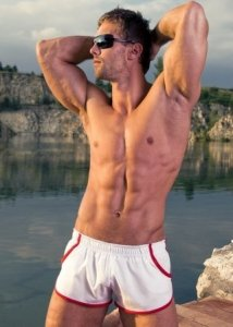 Alpha Male Piping Square Cut Trunk Swimwear White/Red IMAGO1