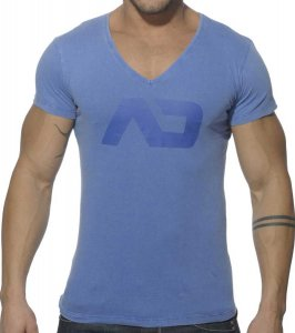 Addicted Vintage V Neck Short Sleeved T Shirt Royal Blue AD214