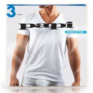 [3 Pack] Papi Cotton Essentials Deep V Neck Short Sleeved T Shirt White 559101