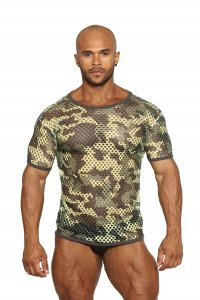 Black Unicorn Greek Fishnet Big Holes Short Sleeved T Shirt Camouflage BU073