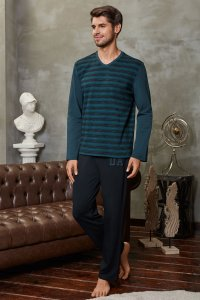 Doreanse Stripe V Neck Long Sleeved T Shirt & Pants Set Loungewear 4599