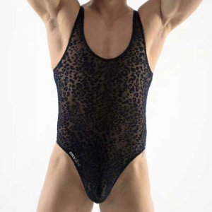 DMXGEAR Love Boy Transparent Velvet Leopard Thong Bodysuit B...