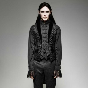 Punk Rave Vampire Baroque Layered Swallow Tail Vest Black Y-696