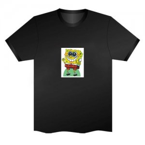 LED Electro Luminescence Cartoon SpongeBob Funny Gadgets Rave Party Disco Light T Shirt Black 32045