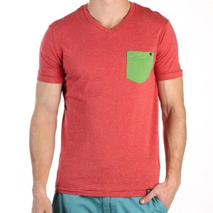 PX Clothing Logan V Neck Short Sleeved T Shirt Red PX1339K