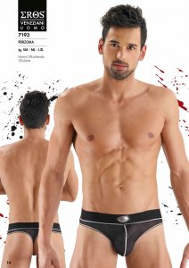 Eros Veneziani Contrast Stitching Stripe & Sheer Thong Underwear Black/White 7193