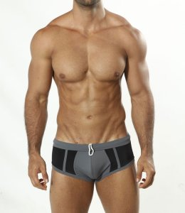 Cover Male Grey Charcoal Boxer Square Cut Trunk Swimwear Gre...