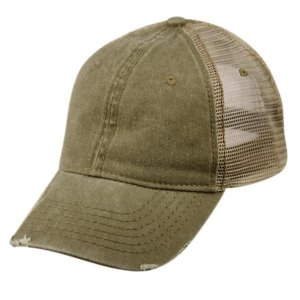 Epoch E Flag Vintage Pigment Dyed Trucker Hat Olive CP033